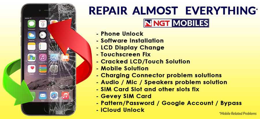 Phone Repair, Unlock & Other services in Nepal by NGT Mobiles
